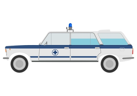 Retro small ambulance on a white background. Vector