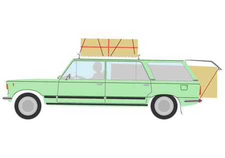 packet driver: Silhouette of retro station wagon with a load. Illustration