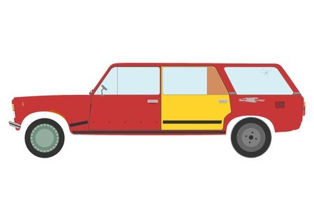 Old and ruined station wagon on a white background. Vector