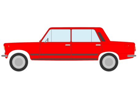 A red sedan in retro style on a white background. Stock Vector - 19267349