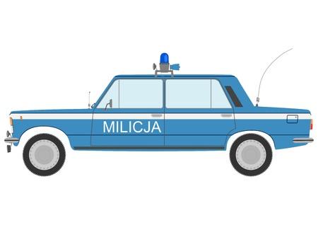 militia: Retro militia car on a white background.