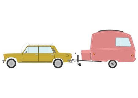 Retro car and caravan on a white background.