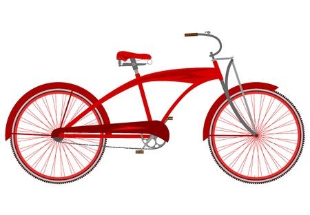 白い背景の上の赤のヴィンテージの巡洋艦の自転車。