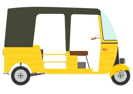 mototaxi: The three-wheeled motor rickshaw on a white background.
