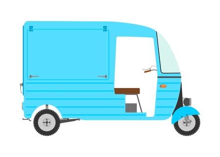 mototaxi: Three wheeled motor rickshaw. Illustration