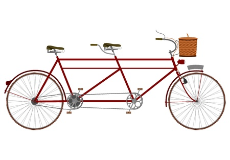 Vintage tandem bicycle with picnic basket on a white background.