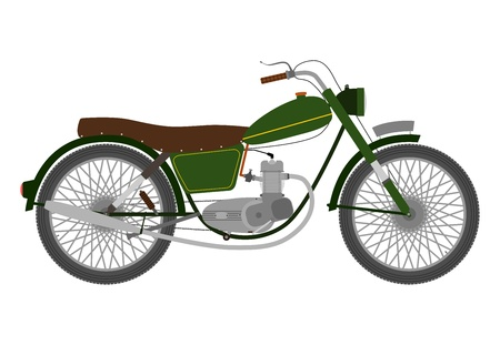 Green Vintage single-engine motorcycle on a white background. Vector
