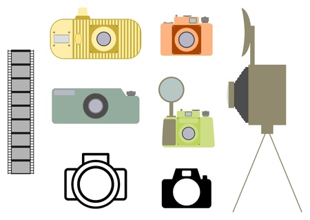 Silhouettes of old cameras on a white background. Stock Vector - 19495987