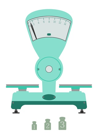 Vintage scales with weights on a white background. Ilustração