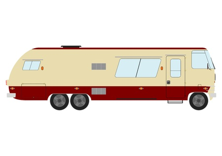 family van: Large vintage motorhome on a white background.