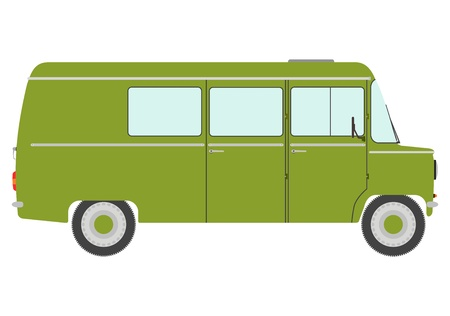 The side silhouette of vintage green van on a white background. Vector