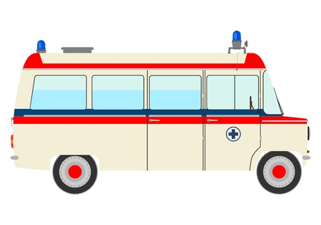 emergency response: The side silhouette of vintage ambulance on a white background.