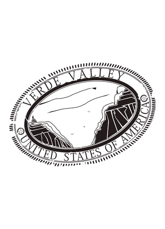 Verde Valley in the United States. Rubber stamp in one color. Vector
