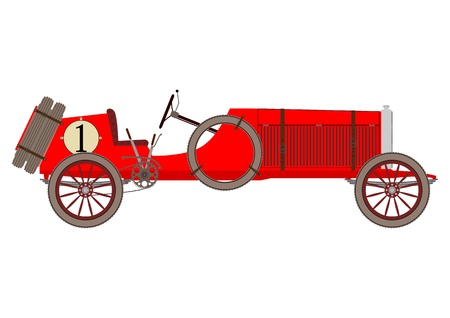 Red vintage racing car on a white background.