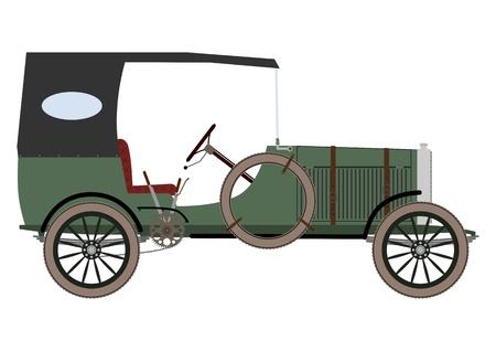 motor de carro: Autom�vil de la vendimia verde sobre un fondo blanco. Vectores