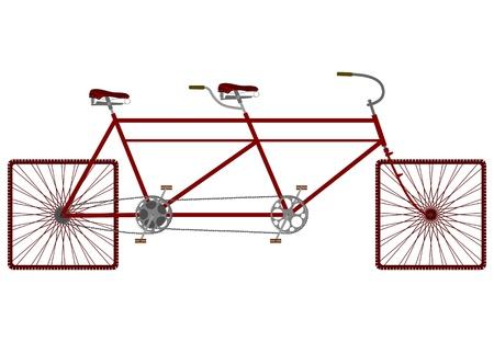 Vintage tandem bike on square wheels. Vettoriali