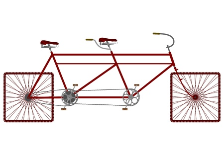 Vintage tandem bike on square wheels. Vector