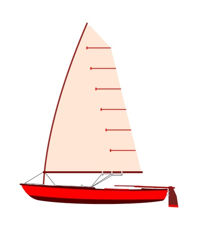 dinghy: Vintage red sailboat silhouette on a white background.