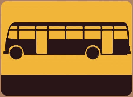 Vintage street sign with the silhouette of the bus Stock Vector - 19731084