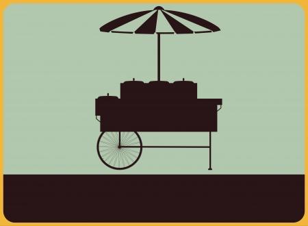food container: Placa de la calle del vintage con la silueta de los vendedores cesta Vectores