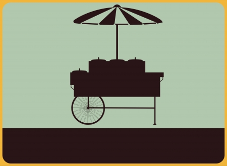 street vendor: Vintage street sign with the silhouette of the vendors cart  Illustration