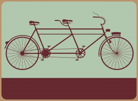 タンデム自転車のシルエットでヴィンテージの道路標識。  イラスト・ベクター素材