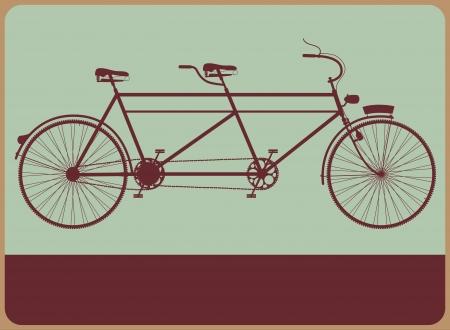 bicicleta retro: Signo Vintage calle con la silueta de una bicicleta t�ndem.