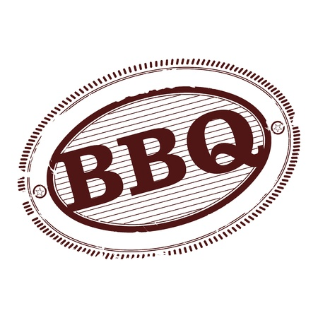 pork ribs: Barbecue rubber stamp in one color on a white background. Illustration