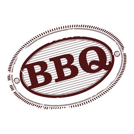 slow food: Barbecue timbro di gomma ad un colore su uno sfondo bianco. Vettoriali