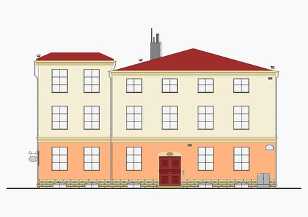 tenement: European tenement house. Silhouette of a building on a white background. Illustration