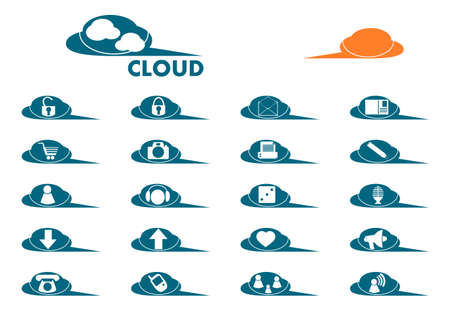 Set of icons in the shape of clouds. Place for any text. A blank icon with space for any symbol. Stock Vector - 20103408