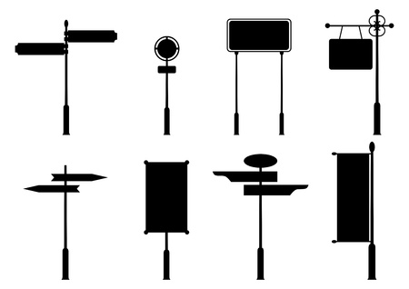 Vintage road signs. Set of black silhouettes on white background. Place for any text.