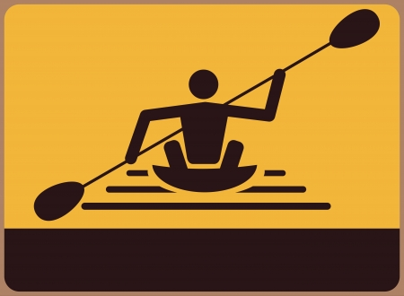 canoeist: A signboard with canoeist. Place for any text.