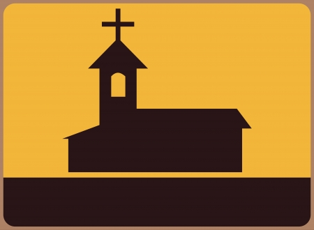 restaurant questions: A signboard with the symbol of the church. Place for any text. Illustration