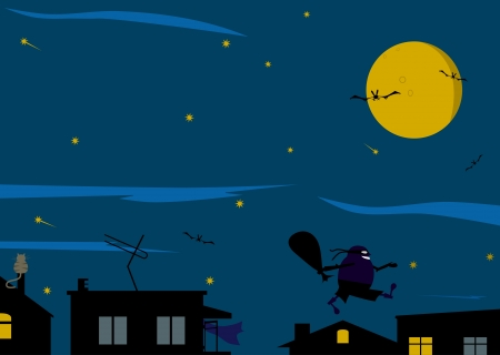 Night background in dark colors with a thief. Place for any text or other elements. Vector