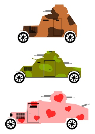 Vintage armored cars in colored camouflage. Place for any text. Vector