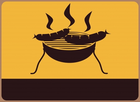 Information plate with a barbecue. Place for any text. Vector