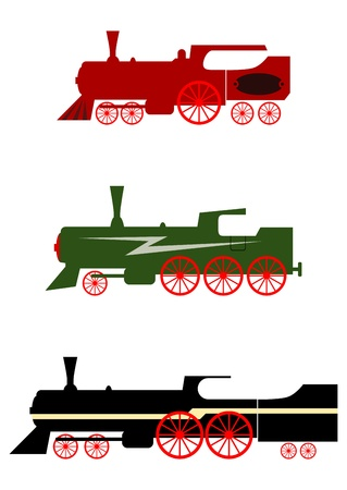 Silhouettes of steam locomotives on a white background. Vector