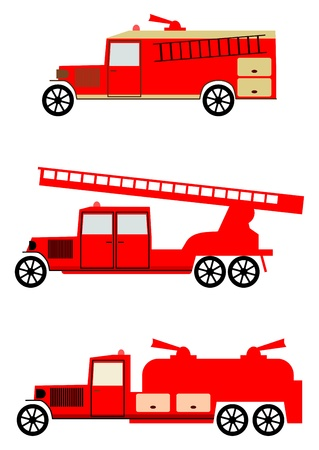 Silhouettes of vintage fire engines on a white background. Vectores