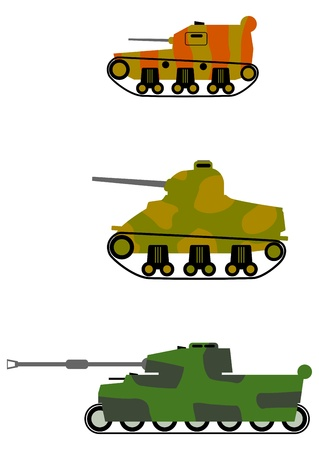 Silhouettes of tanks in camouflage on a white background. Vector
