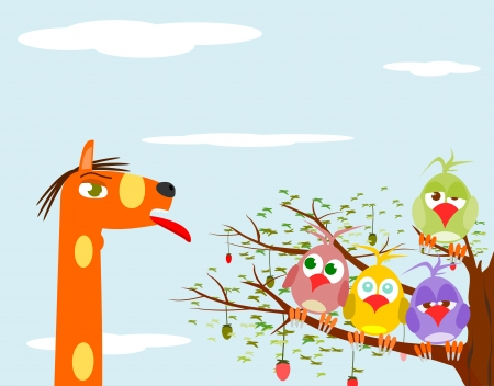 Background with birds on a tree and giraffe head. Vector