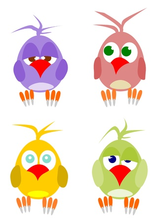 woodpecker: A set of colorful parrots. Easy to put in your project. Illustration