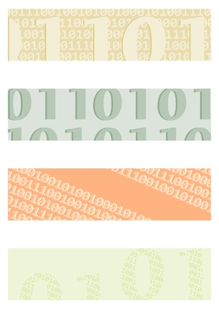 bytes: Background for banner with motifs binary code. Proportions as in the half banner. Illustration