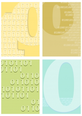 Set of four backgrounds in retro style with motifs of binary code. Stock Vector - 20303345