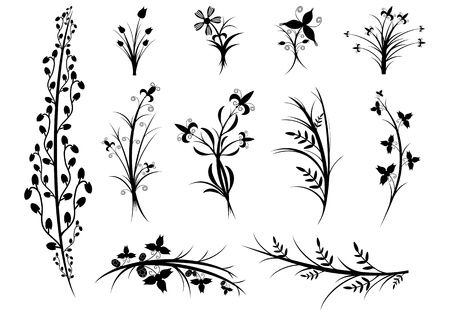 A set of silhouettes of flowers and plants on white background  Vector