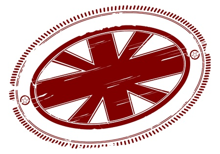 Union jack rubber stamp with place for any text in the middle  Vector