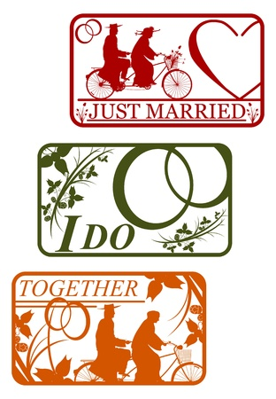Set of retro stamps with marriage motifs Vector