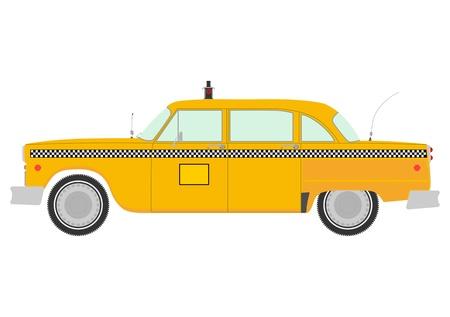 레트로 노란색 택시 실루엣 일러스트