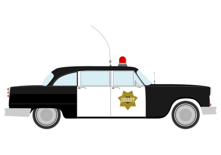 Silhouette of vintage police car  Vector