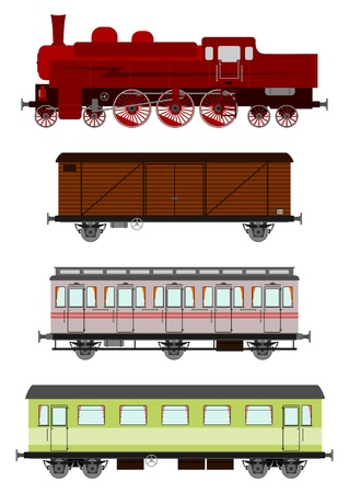 Vintage locomotive and wagons Vector